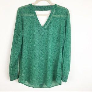 CAbi Sheer Green Long Sleeve Bountiful Blouse